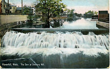 Haverhill MA Mass The Dam at Stevens Mill, buildings alongside river, 1909