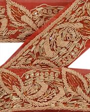 Vintage Sari Border Antique Hand Beaded 1 YD Indian Trim Décor Ribbon Red Lace