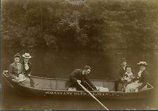 Belgique, Dinant, Scène de Vacances, Barque, la Meuse  Vintage citrate print
