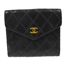 Authentic CHANEL Vintage CC Quilted  Bifold Wallet Purse Leather Black B30636