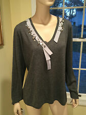 New w/ Tags $390 MARINA RINALDI Gray Size Large Wool/Silk V- NECK BEADED SWEATER