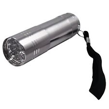 9 ULTRA BRIGHT LED POWERFUL SMALL CAMPING TORCH FLASH LIGHT LAMP LIGHTS SILVER!