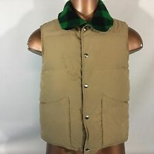 Vintage 70's Penfield reversible Vest Jacket men's Size Medium M Tan/Green plaid