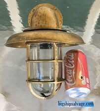 Marine Brass Ship Passageway Light With Deflector Cover - Weathered - Lot C