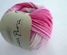 Wakame 50g von Lana Grossa Linea Pura Fb 101 weiß/rosa/pink