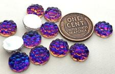 Vintage 10mm Dotted Vitrail Fire Silver Back Glass Cabs 8