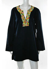Mott 50 Navy Blue Cotton Beaded Trim Long Sleeve V Neck Dress Size M with Tags