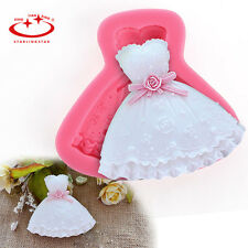 Beautiful Wedding Dress Silicone Molds Fondant Cake  Embossing Decorating Tools