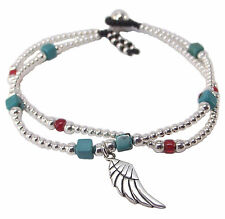 ANGEL WING and TURQUOISE FRIENDSHIP BRACELET 925 Sterling SILVER