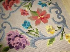 Completed Vintage PENELOPE NEEDLEPOINT CANVAS BENCH Tapestry Queen Anne Floral