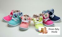 Girls canvas shoes high ankle trainers baby toddler size 3.5 - 11 UK - NEW!!