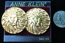 New Original Card Old Stock ANNE KLEIN Goldtone LION HEAD Round Clip-On Earrings
