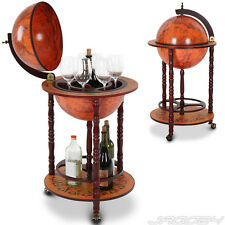 Globe Drinks Cabinet Trolley Mini Bar Home Lounge Bottle Holder Decoration Brown
