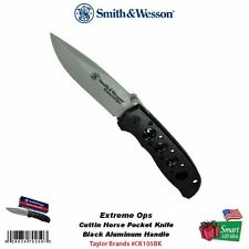 Smith & Wesson Extreme Ops Cuttin Horse Pocket Knife, Black Handle #CK105BK