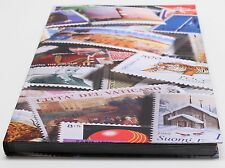 32 Page World Stamp Stock Book, Black Pages, Double Glassine Interleaves, 9 Stri