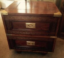 M Hayat & Bros Rosewood Brass Inlay Two Drawer Cabinet Chest. Asian Pakistan