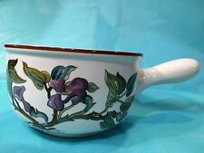 Vintage VILLEROY & BOCH  PURPLE FLORAL VITRO PORCELAIN SOUP CHILI BOWL W/HANDLE