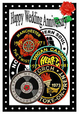 NORTHERN SOUL WEDDING ANNIVERSARY CARD (PATCHES) - GLOSS FINISH - BRAND NEW