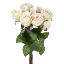 Artificial Silk Rose Bunch Cream 9 Individual Stems 42cm/16.5 Inches