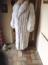 LADIES BLUE FOX FUR COAT FULL LENGTH SIZE 14 EX CON WORN TWICE