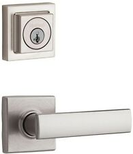 SmartKey Nickel Exterior Keyed Entry Door Knob Lever Key Deadbolt Lock Combo Set