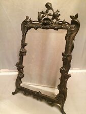 """Antique """"W.B."""" Pewter Large Table Top Roses Design Photo Frame w Beveled Mirror"""