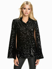 NLY TREND BLOGGERS CELEBRITY STYLE BLACK SHARP SEQUIN CAPE JACKET UK8 EU36 BNWT