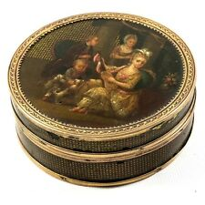 IMPORTANT Antique French Oil Painting Vernis Martin Snuff Box, Marie-Antoinette