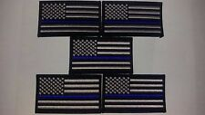 thin blue line flag patches 5 SWAT subdued police law enforcement velcro 3.5x2