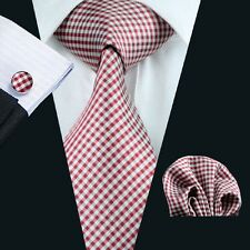 Mens 100% Wedding Party Silk Red Tie Sets Tie+Hanky+Cufflinks Free P&PS N-1037