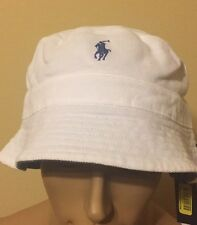 polo ralph lauren bucket Reversible Hat Cotton    Large / XLarge 2 In 1  White