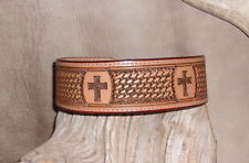 "Custom Saddle Tan Leather Dog Collar 2"" wide Hand Tooled, Cross / BW. G&E"