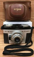 Vintage Argus A-Four Camera w/ Genuine Brown Leather Case -Made in U.S.A.-