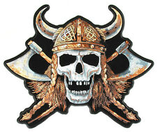 VIKING SKULL Back Patch groß Aufnäher Aufbügler Wikinger Odin Biker Backpatch