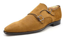 Canali Men's Shoes Size 42, 9 US Suede Double Monk Straps Light Brown