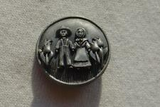 Vtg Pewter Farmer & Wife Pin with Attached Flower Earrings Set