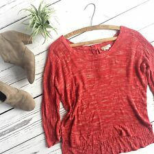 Lucky Brand Sweater Loose Cotton Knit Red Slouchy Long Sleeve Boho Pullover