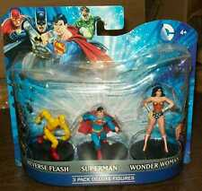 "DC HEROES 4"" PVC FIGURES SET OF 3 SUPERMAN WONDER WOMAN REVERSE FLASH #sw-1243"