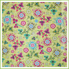 BonEful Fabric FQ Cotton Quilt Green Purpe Pink Lg Flower Leaf Boho Hippie Toile