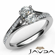 Oval Cut Pave Set Diamond Engagement Ring GIA F Color VVS1 18k White Gold 0.85Ct