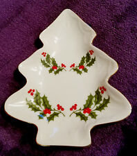 KASHIMA CRISTMAS HOLLY TREE CANDY NUT TIDBIT TRAY DISH FINE PORCELAIN JAPAN~~VGC
