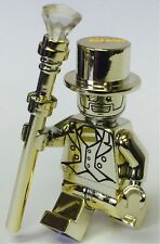 CUSTOM CHROME GOLD PAINTED LEGO MINIFIGURE MR. GOLD WITH DISPLAY PLATE