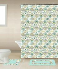 Sareen Green & Yellow 15-Piece Bathroom Accessory Set 2 Bath Mats Shower Curtain