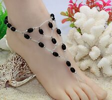 1 pcs Hawaii beach nude foot chain. Foot bracelet anklets jewelry Black (BL07)