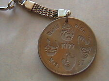 KISS 2 SIDED MEXICAN COIN KEYCHAIN FROM 1997 WORLDWIDE TOUR FACES VERY RARE