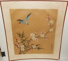 JAPANESE BLUE BIRD PINK BLOSSOM WATERCOLOR ON SILK PAINTING SIGNED
