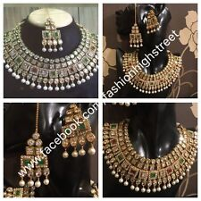 Indian Bollywood Bridal Ruby, Emerald & Clear choker necklace, earrings & Tikka
