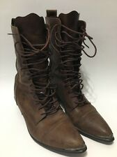 Vintage ACME RHIANON Boots Lace Up Granny Witch Pointed Toe Brown Leather 8-8.5