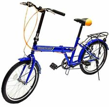 "20"" Folding Bike 6 Speed Bicycle Fold Storage blue School Sports Shimano"