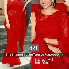 BEAUTIFUL BOLLYWOOD  DESIGNER RED COLOR   PARTY WEAR GEORGETTE SAREE